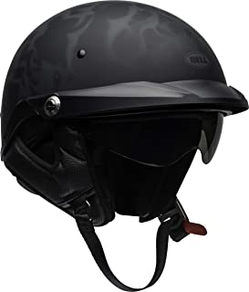 Bell Pit Boss Open-Face Motorcycle Helmet (Flames Matte Black/Gray, X-Small/Small)