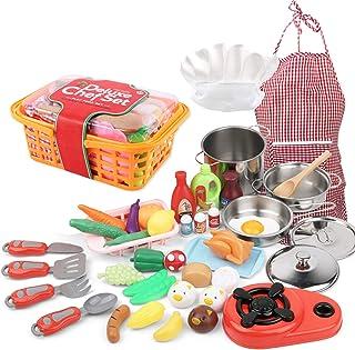 42 PCS Kitchen Set Pretend Play with Chef Hat Apron Kitchen Toy Stove Pan Spoon Vegetables Fruits Storage Basket Children ...