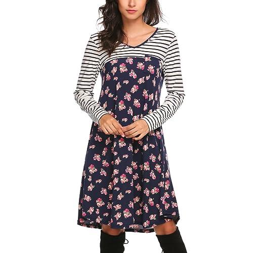 215bfdd1ced7 Zeagoo Women s Tunic Swing T-Shirt Dress Long Sleeve Striped Tunic Dress