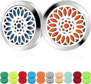 2 Pack Aromatherapy Essential Oil Car Diffuser Vent Clip with 20 Refill Pads — Fragrance Car Diffuser Stainless Steel Locket Air Freshener