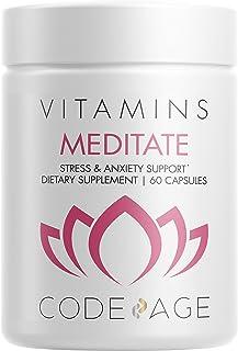 Codeage Meditate Natural Vitamins Brain Supplement – Vegan Natural Vitamins - GABA, DHH-B, NeuroFactor, Ashwagandha for Mind Relaxation and Calmness Support - Herbal Formula – 60 Capsules