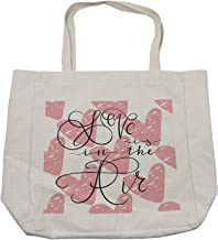 Ambesonne Saying Shopping Bag, Ink Brush Love is in the Air Calligraphy on Grunge Hearts, Eco-Friendly Reusable Bag for Groceries Beach and More, 15.5