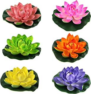 Lightingsky Artificial Floating Foam Lotus Flower Pond Decor Water Lily (6 Colors-2, Meduim-18cm)