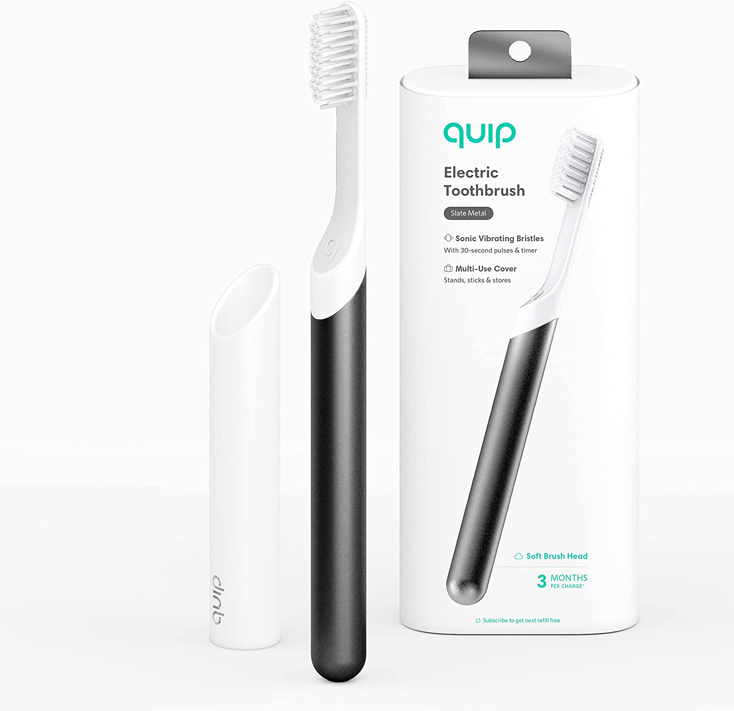 Quip Electric Toothbrush - Max 79% Topics on TV OFF Slate Brush and Metal Trav