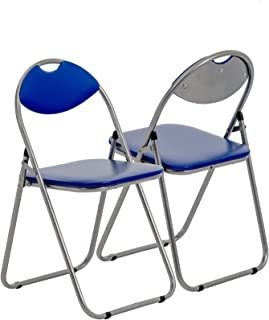 Harbour Housewares Silla de Escritorio Plegable - con Acolchado Azul - Pack de 6