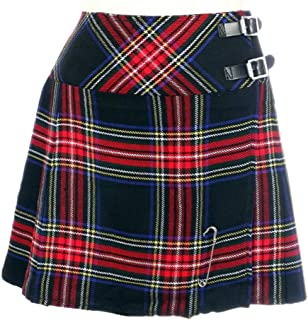 "Scottish Mini Ladies Skirt Black Stewart Tartan/Women Mini Skirt Kilt 16"""