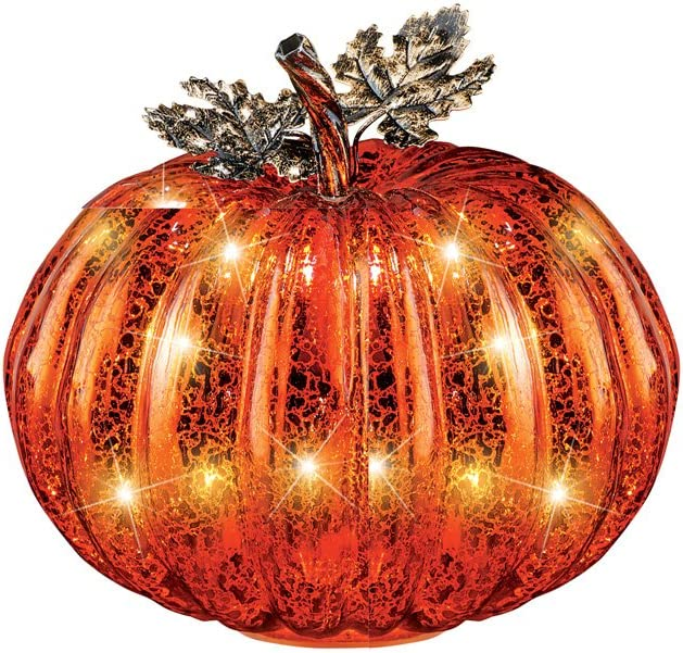 Collections Etc Festive Lighted Glass Pumpkins Indoor Fall Tabletop Décor, Small