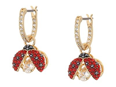 Swarovski Sparkling Dance Ladybug Pierced Earrings (Dark Multi/Red) Earring