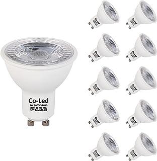 Bombillas LED GU10 7W 520 Lumens (equivalente 50W) Reemplazo bombilla halógena, Luz cálida 3000k, No regulable, Angulo de haz de 60°, CRI 80 220-240V, Pack 10 unidades