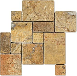 Scabos Travertine 4-Pieced OPUS Mini-Pattern Tumbled Mosaic Tile - 6 X 6 Sample