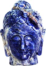 Natural Gemstone Hand Carved Sodalite Buddha Head Buddha Figurine Statue with Free Authenticity Certificate & EBook About ...
