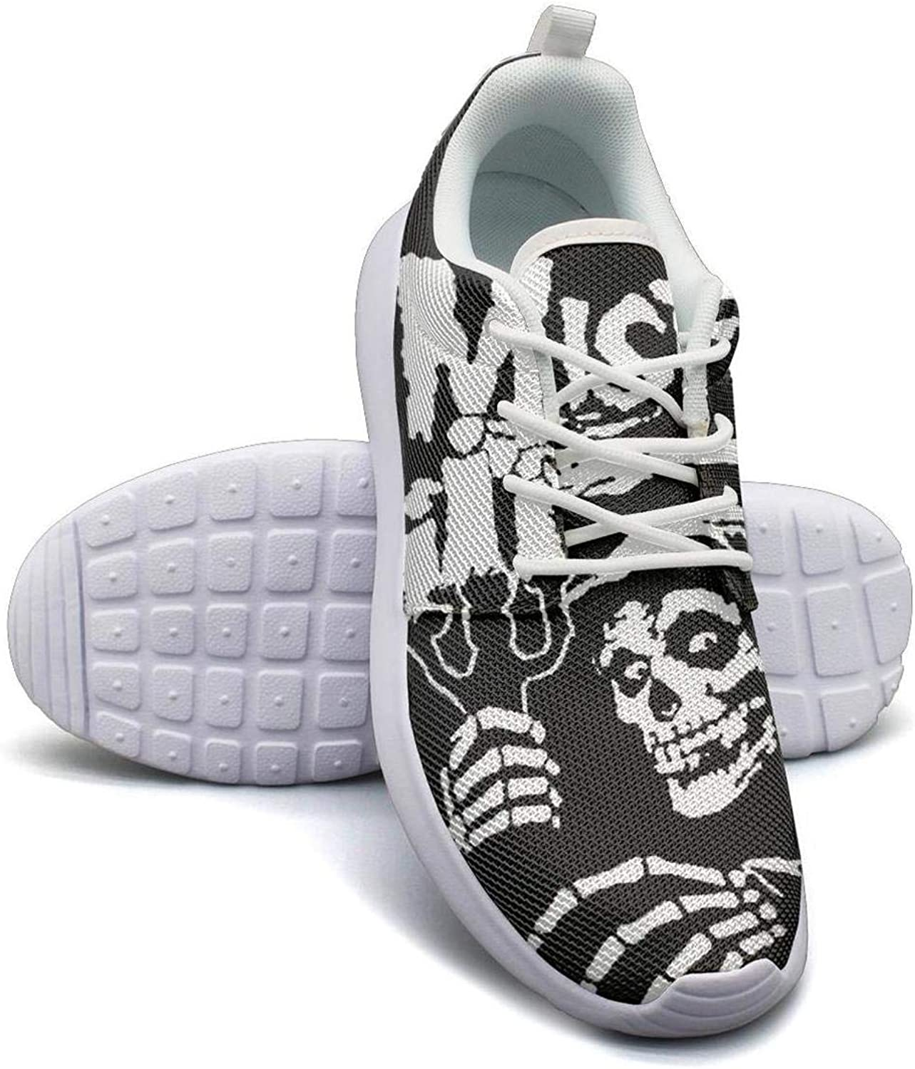 Sneakers for Womens Misfits-Art-Skull-Show- Skid-Proof Mesh Lace-Up Running shoes