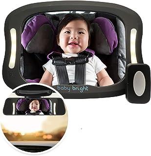 آینه ماشین کودک با نور (برای رانندگی در شب) و کنترل FOB | عمر باتری طولانی تر بهبود یافته | Backseat Backlineat Mirror Baby by Baby Bright | شکن-اثبات ، کاملاً مونتاژ شده