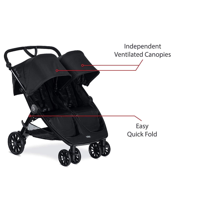 Britax B-Lively Double Stroller, Raven - Quick Self Standing Fold, Adjustable Handlebar, All Wheel Suspension