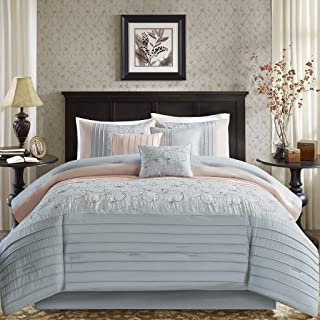 Madison Park Serene Comforter Reversible Solid Faux Silk Floral Flower Embroidered Pleated Stripes Patchwork Soft Down Alternative Hypoallergenic All Season Bedding-Set, Cal King, Blush/Grey