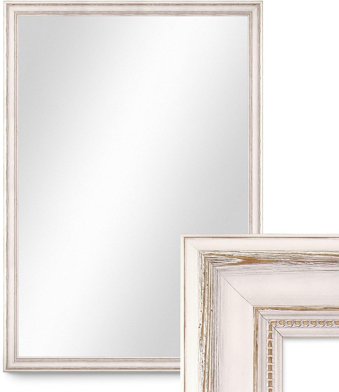PHOTOLINI Wand-Spiegel 80x110 cm im Massivholz-Rahmen Landhaus-Stil Weiss Spiegelflche 70x100 cm