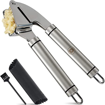 Alpha Grillers Garlic Press Stainless Steel Mincer and Crusher with Silicone Roller Peeler. Rust Proof, Easy Squeeze, Dishwasher Safe, Easy Clean
