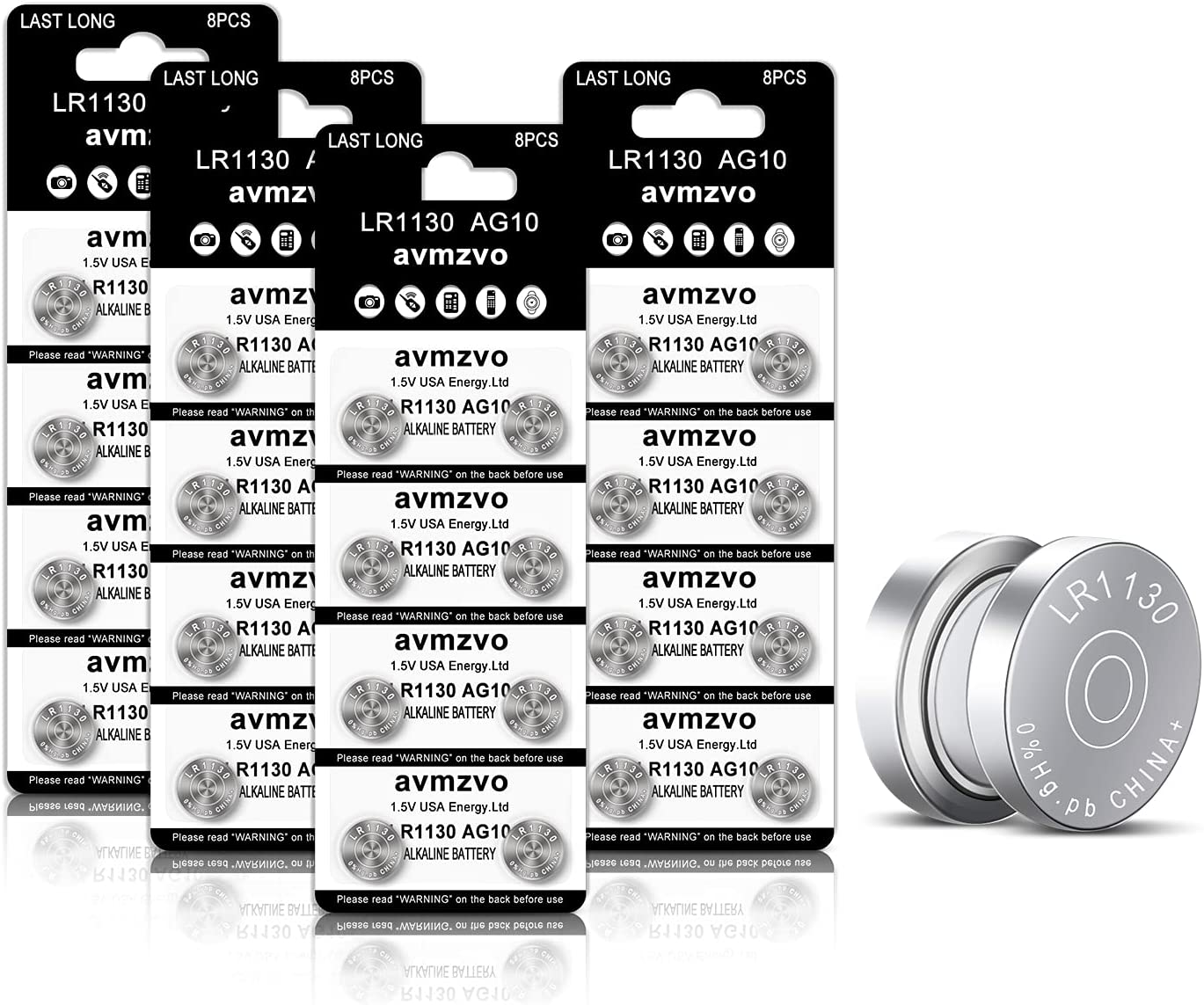 Avmzvo LR1130 Battery AG10 Battery 1.5V Long-Lasting Alkaline Button Cell Batteries (32 Count)【3-Year Warranty】