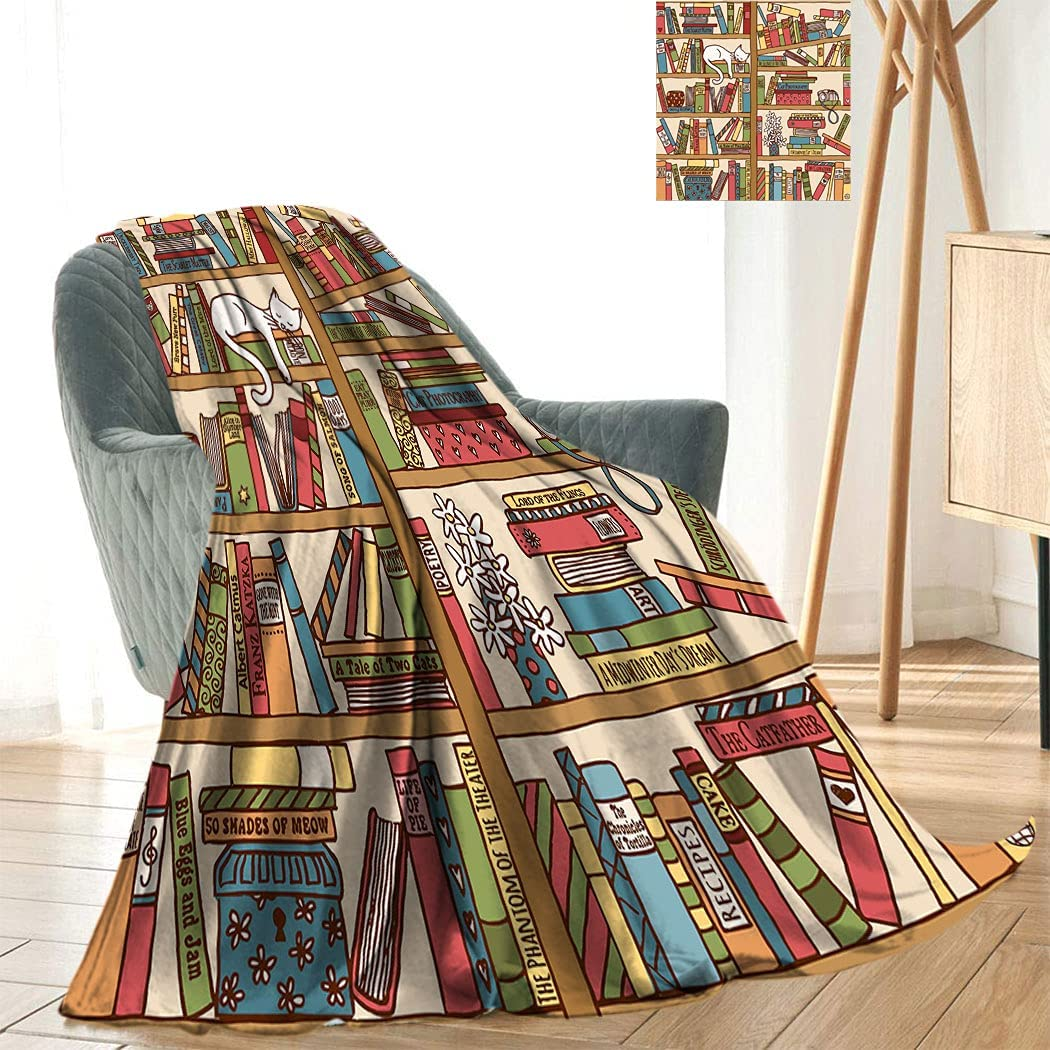 Cat Blanket Printing Fresno Mall Nerd Book Over Clearance SALE! Limited time! Lover Sleeping Kitty Bookshe