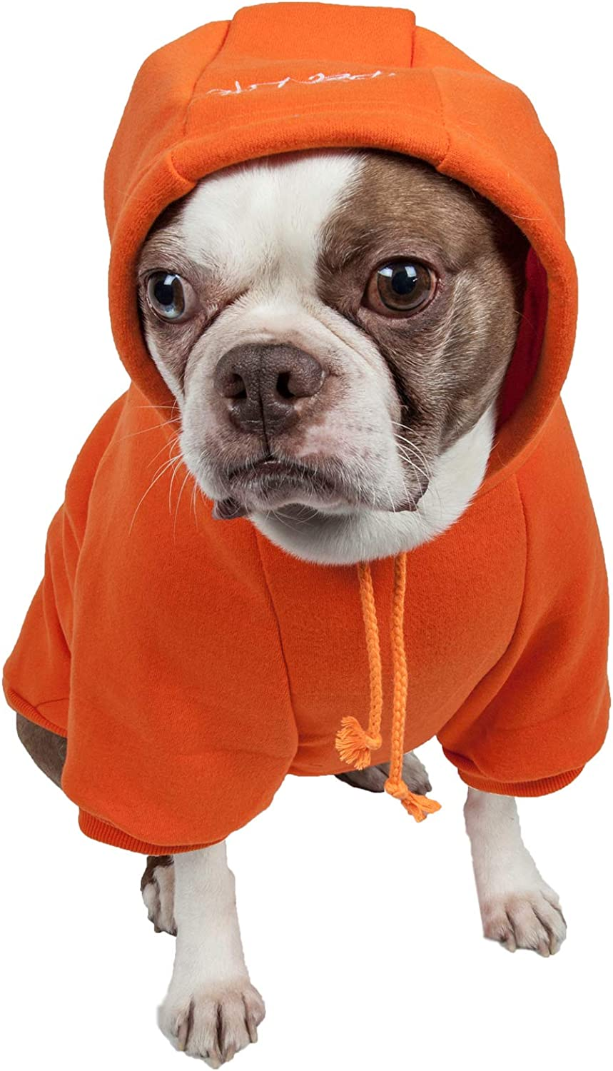 PET LIFE 'American Classic' Designer Fashion Plush Cotton Pet Dog Hooded Sweater Hoodie, XSmall, orange