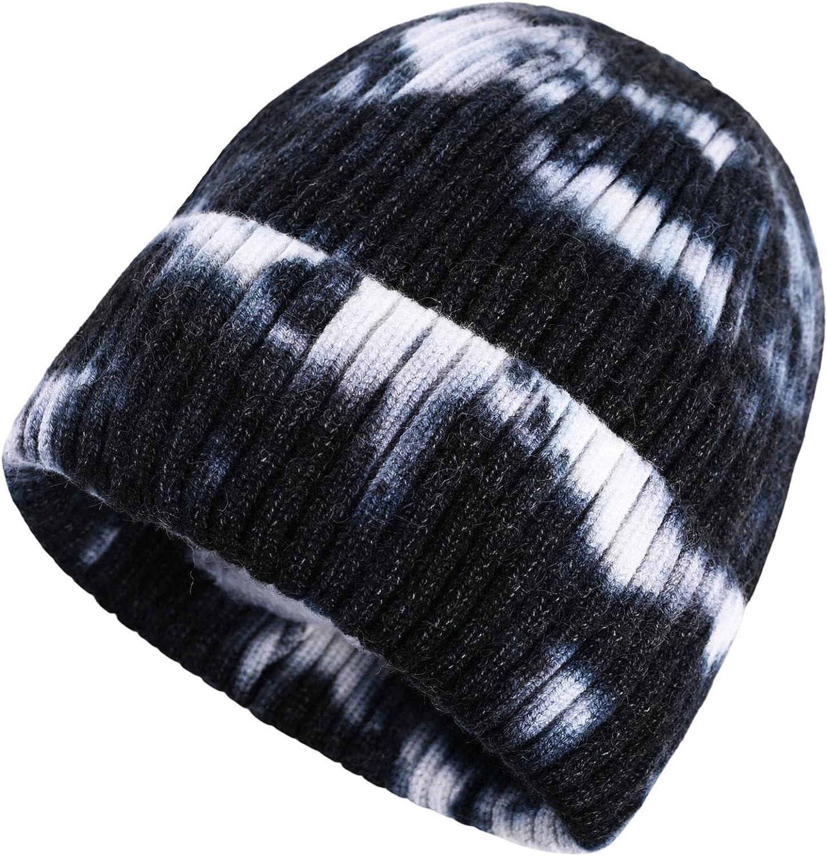 accsa Winter Tie Dye Beanie Hat for Men Women Stretchy Rib Knit Beanie Warm & Cozy Fold-up Cuff Unisex Beanie Hat