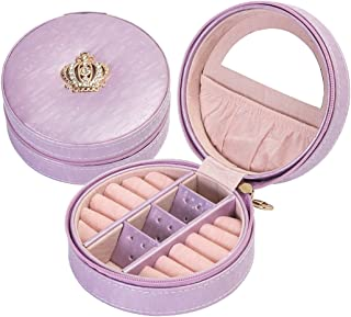 iSuperb Portable Round Jewelry Box Organizer Crown Designed Jewelry Case for Rings Earrings Necklace (Purple)