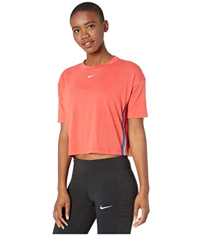 Nike Pro Top Crop Short Sleeve Tape (Track Red/White) Women