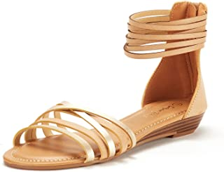 DREAM PAIRS Women's Juuly_02 Gladiator Ankle Strap Flat Sandals - coolthings.us