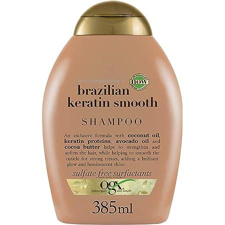 OGX Shampoo, Lisciante Cheratina brasiliana, per Capelli Crespi, Ricci o Mossi, 385 ml