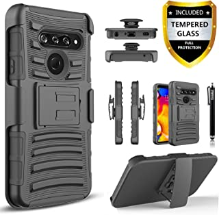 LG V40 ThinQ Case, LG V40 Case, With [Tempered Glass Screen Protector Included], Circlemalls Built-In Kickstand Belt Clip Holster Heavy Duty Protective Phone Cover Bundled And Stylus Pen-Black