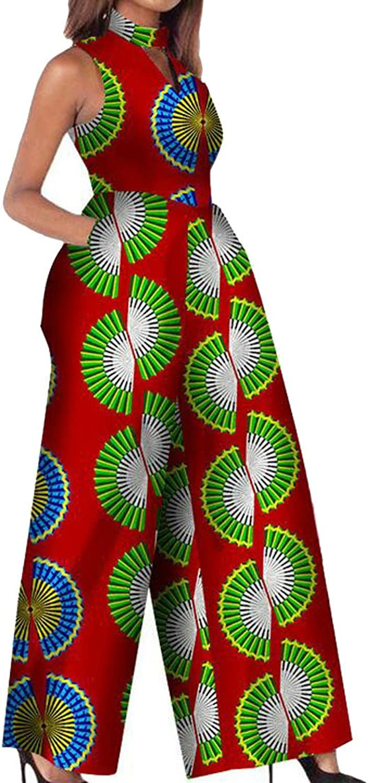 Agana Women's Playsuit African Print Dashiki Sleeveless Wide Leg Jumpsuit