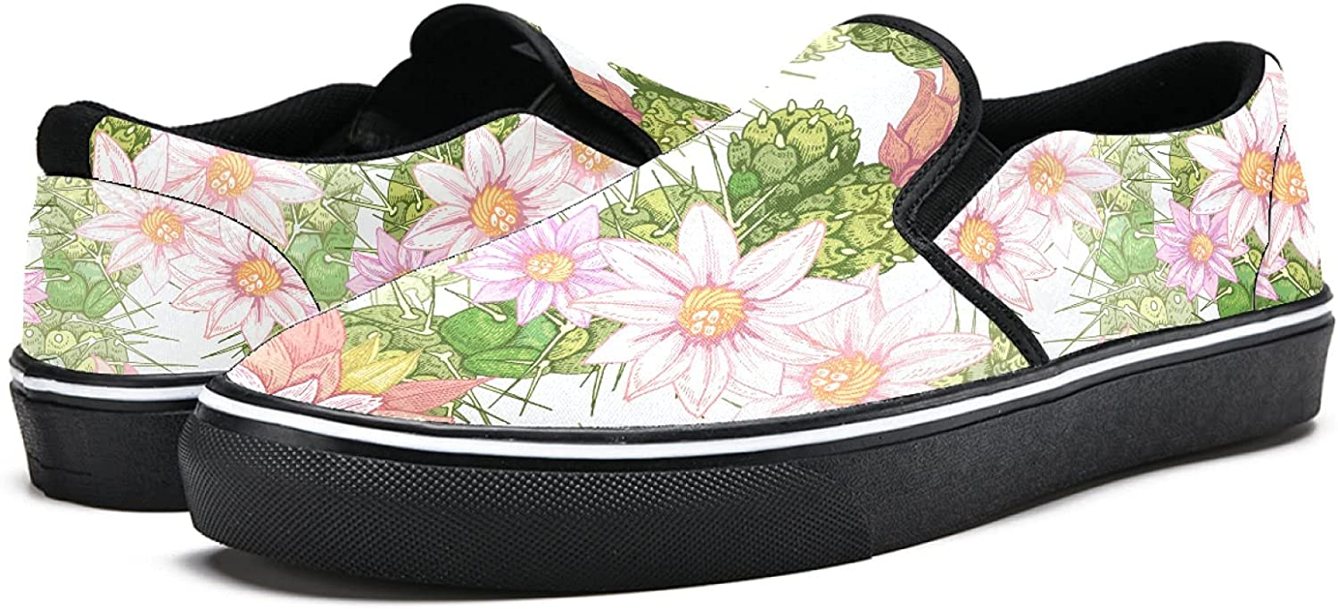 Men's Classic Slip-on Canvas Shoe Fashion Sneaker Casual Walking Shoes Loafers 7 Flowers and Cacti