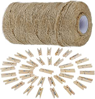 Anpro 97M Jute Twine and 50 Pcs 3.5cm Wood Clothespins, Natural Jute Twine Arts Crafts Gift Christmas Jute Twine Packing I...