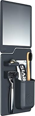 The Harvey & Oliver Set (Charcoal) Silicone Toothbrush, Toothpaste and Razor Holder Plus Fog Resistant Shower Mirror. Grips to Shiny Surfaces. No Suction Cups.No adhesives. No Hardware Required.