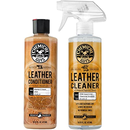 Chemical Guys SPI_109_16 Leather Cleaner and Leather Conditioner Kit for Use on Leather Apparel, Furniture, Car Interiors, Shoes, Boots, Bags & More (2 - 16 Oz Bottles)