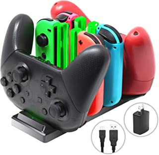 Controller Charger for Nintendo Switch, 6 in 1 Charging Dock Station for Nintendo Switch Joy-Con Controllers and Pro Controllers with Charging Indicator,Type C Charging Cable and AC Adapter