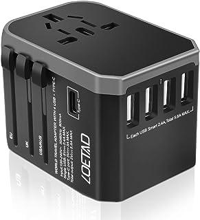 LOETAD Travel Adapter International Power Adapter Universal Travel Plug Adapter Worldwide Use 4 USB 1 Type C Total 5.6A 20...