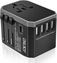 LOETAD Travel Adapter International Power Adapter Universal Travel Plug Adapter Worldwide Use 4 USB 1 Type C Total 5.6A 20...