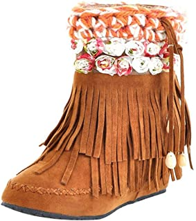 Fashion Womens Martin Women Autumn Snow Winter Casual Comfortable Vintage Breathable Waterproof Ankle Short Tube Suede Fringed Bootie (Color : Yellow, Size : 6 UK)