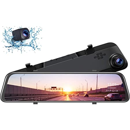 "TOGUARD 12"" 2.5K Mirror Dash Cam for Cars GPS Voice Control Rear View Camera Touch Screen Front and Rear Dual Lens Dash Cameras Waterproof Backup Camera with Parking Assistance Night Vision"