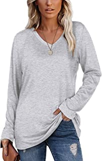 Womens Long Sleeve V Neck Fall T Shirts Loose Fit Basic Tops S-XXL