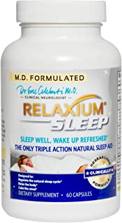 Relaxium Sleep Aid w/ Melatonin & Magnesium   Sleep Supplement for Sleep Enhancement & Relief from Insomnia, Anxiety, and Stress   w/ GABA, Chamomile, & Valerian / 60 Capsules