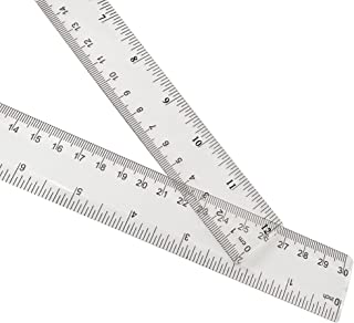 2 Pack Plastic Ruler Straight Ruler Clear See Through Measuring Acrylic Tool for Student School Office with Centimeters an...