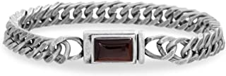 Men's Simulated Tiger's Eye Rectangle Station Curb Chain...