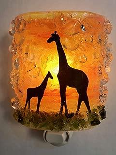 Giraffes Mom Baby Serengeti Sunset Safari Fused Recycled Glass Art Night Light Nightlight Nitelite