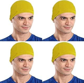 The Blazze Cotton Helmet Cap (Free Size, Yellow+Yellow+Yellow+Yellow)