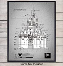 Disney Castle Patent Art Print - Vintage Wall Art Poster - Chic Retro Home Decor for Child, Baby, Nursery, Kids Room, Bedroom - Great Gift for Women, Girls, Mickey Mouse Fans - 8x10 Photo - Unframed