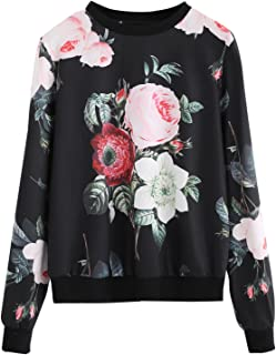 ROMWE Women`s Casual Floral Print Long Sleeve Pullover Tops Lightweight Sweatshirt
