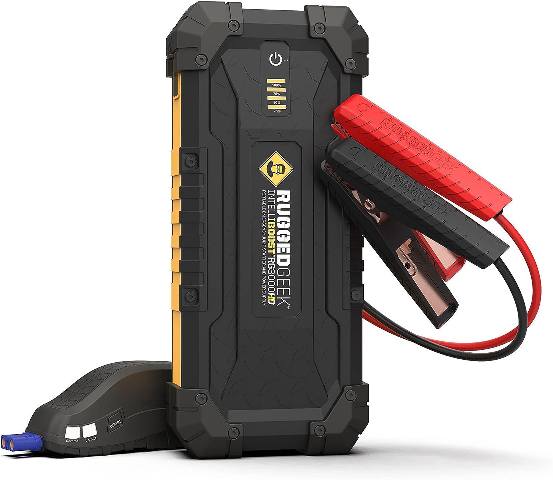 RUGGED GEEK RG3000 HD 3000 Amp Portable 12V Jump Starter, Battery Booster...