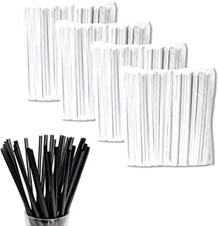 Hotpack Disposable Extra Long Wrapped Plastic Drinking Straws Black - 8mm, 250 pcs (Pack of 4)